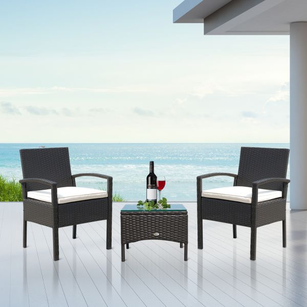 Outsunny 3PC Rattan Bistro Set - Black or Brown
