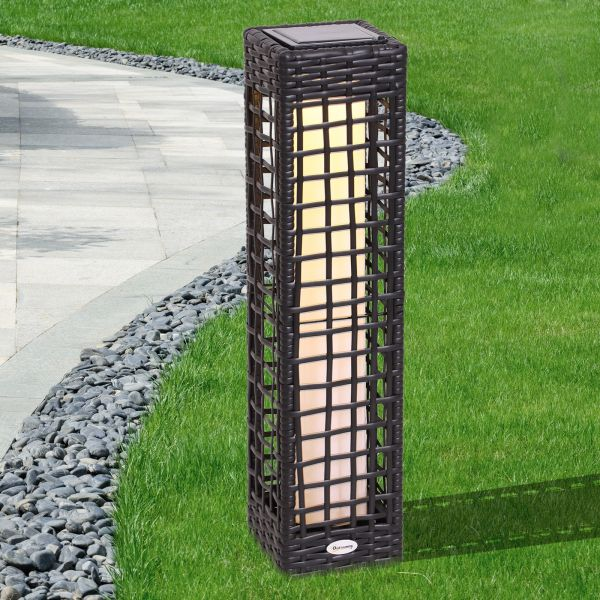 Outsunny Rectangular Rattan Automatic Solar LED Garden Lamp