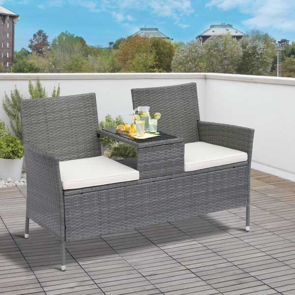 Outsunny 2-Seater Rattan Companion Chair - Black, Brown or Grey