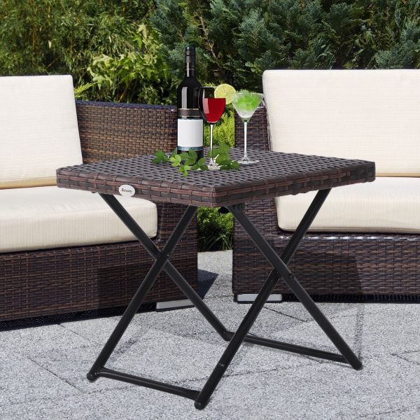 Outsunny Folding Square Brown Rattan Garden Table