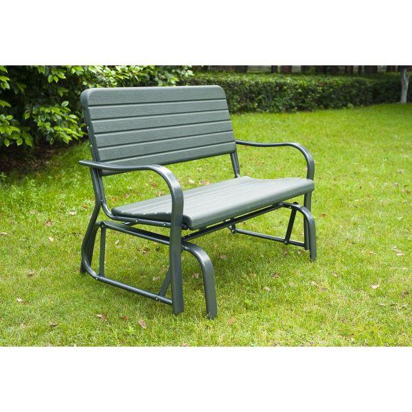 Outsunny Metal 2-Seater Outdoor Garden Rocker Bench - Green