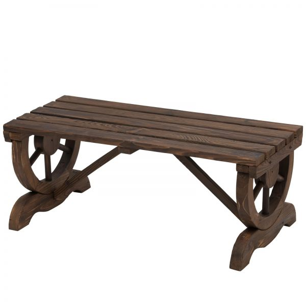 Outsunny Rustic Garden Wooden Bench Wheel - Brown