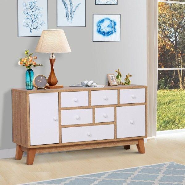 Homcom 8-Drawer Sideboard Storage Chest - Oak & White