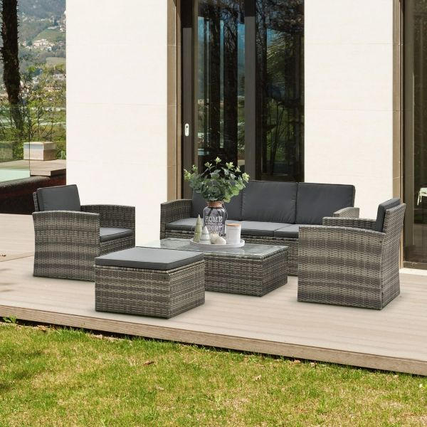Outsunny 6-Seater Outdoor Garden Rattan Furniture Set with Table - Grey