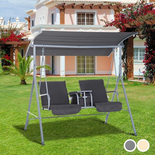 Outsunny Steel Frame 2-Seater Swing Chair with Table - 2 Colours