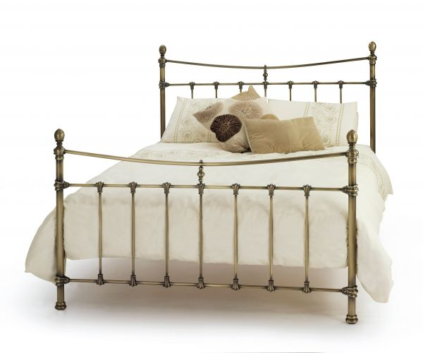 Olivia Antique Brass Metal Bed - Double or King