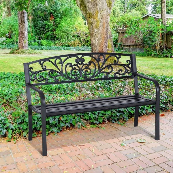 Outsunny Steel 2-Seater Garden Bench - Black