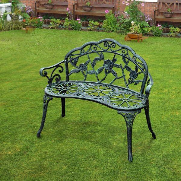 Outsunny Antique Aluminium Garden Bench - Green