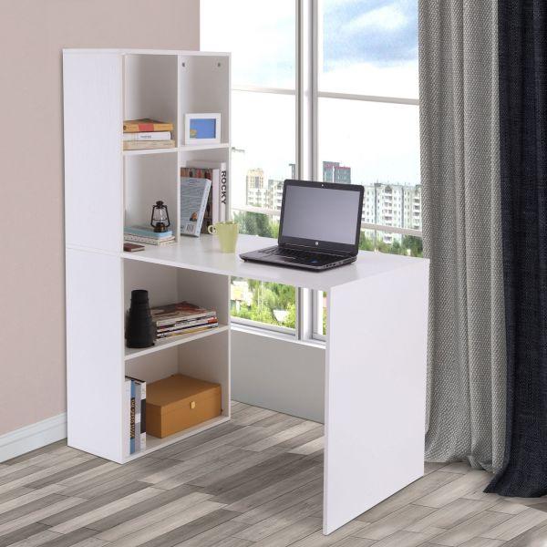 Computer Desk Study with 4-tier Bookshelf in White