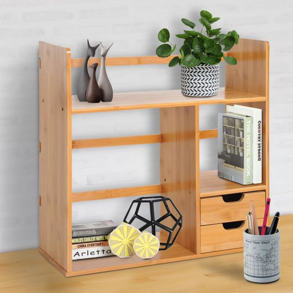 Bamboo Desk Organiser with 2 Drawers -  2-way Reversed Use