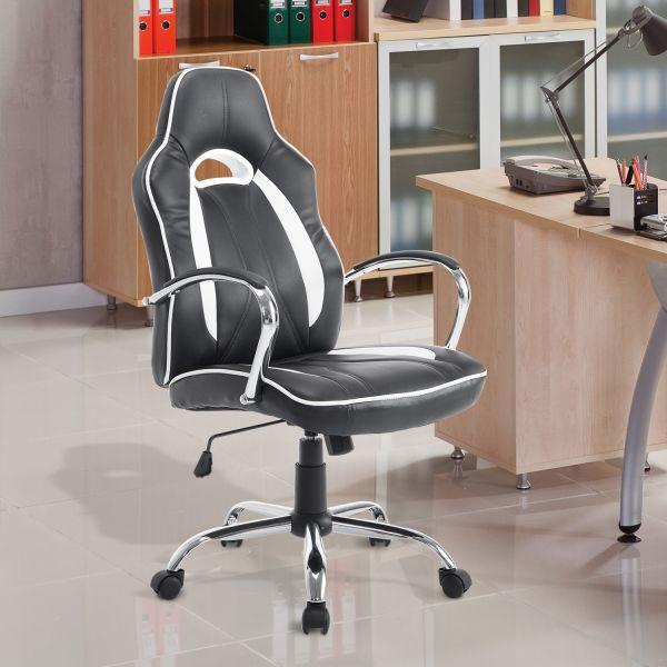 Homcom Office Swivel Armchair in Black and White