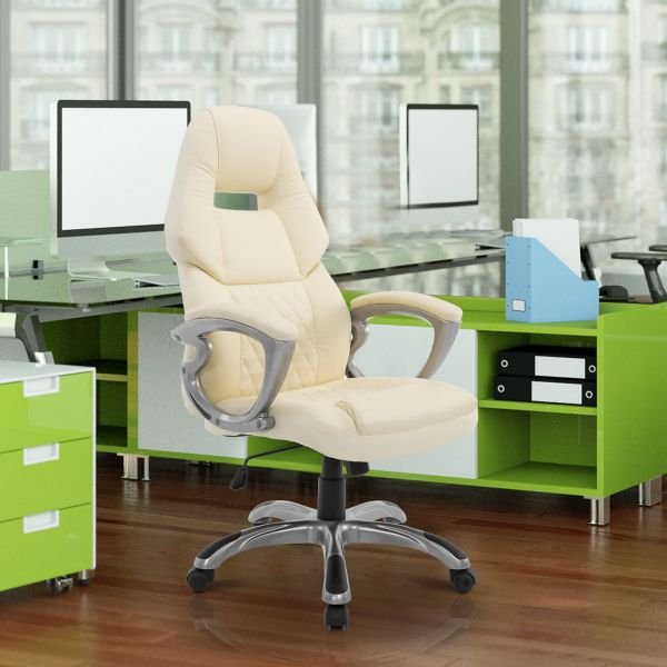 Cream Leather Office Chair with Adjustable Height