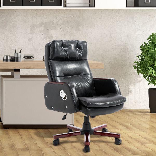 PU Leather Luxury Swivel Chair Black/Brown
