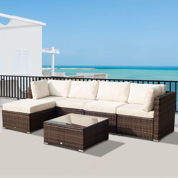 Outsunny Deluxe 6PC Rattan Corner Sofa Set - Brown