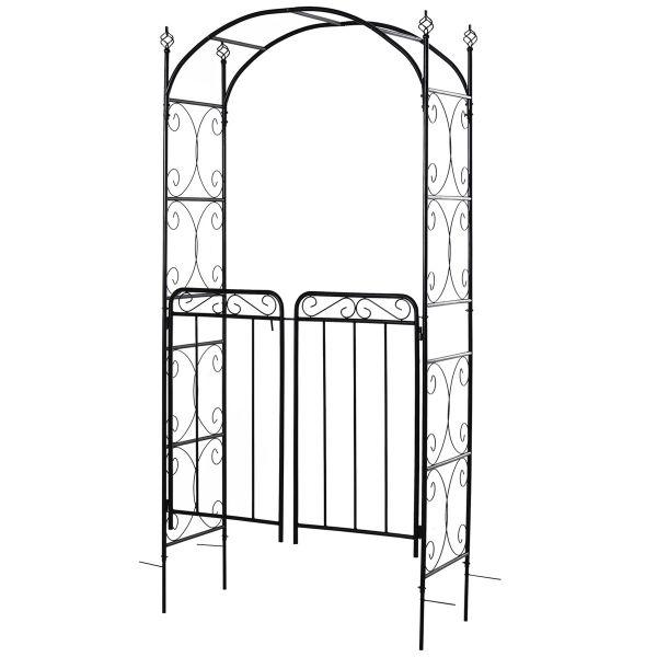 Outsunny Metal Outdoor Garden Gate - Black