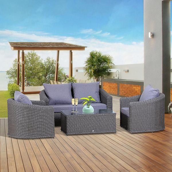 Outsunny 4-Seater Deluxe PE Rattan Outdoor Garden Furniture Set - Grey