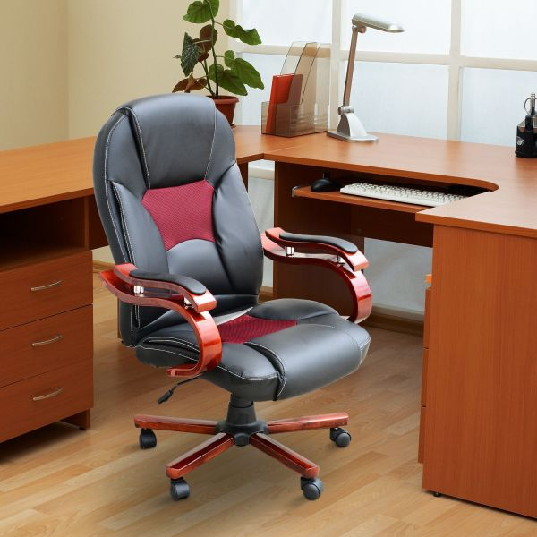 Homcom Luxury PU Leather Swivel Office Chair - Black & Red