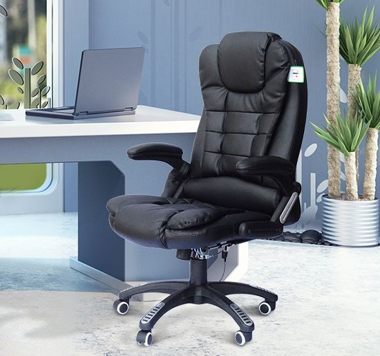 Homcom Deluxe Massage Faux Leather Office Chair - Black