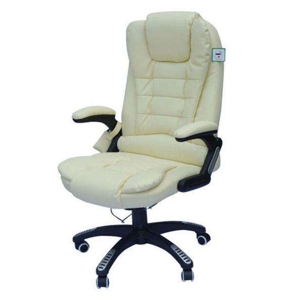 Homcom Deluxe Massage Faux Leather Office Chair - Cream