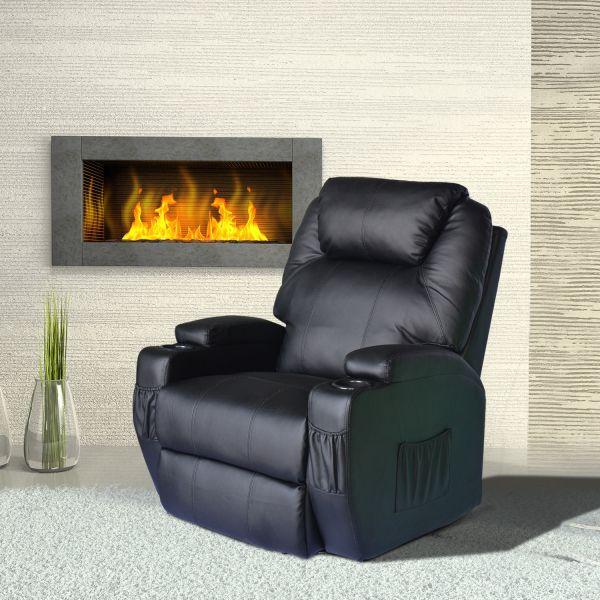 Homcom Luxury Leather Massage Recliner Armchair - Black