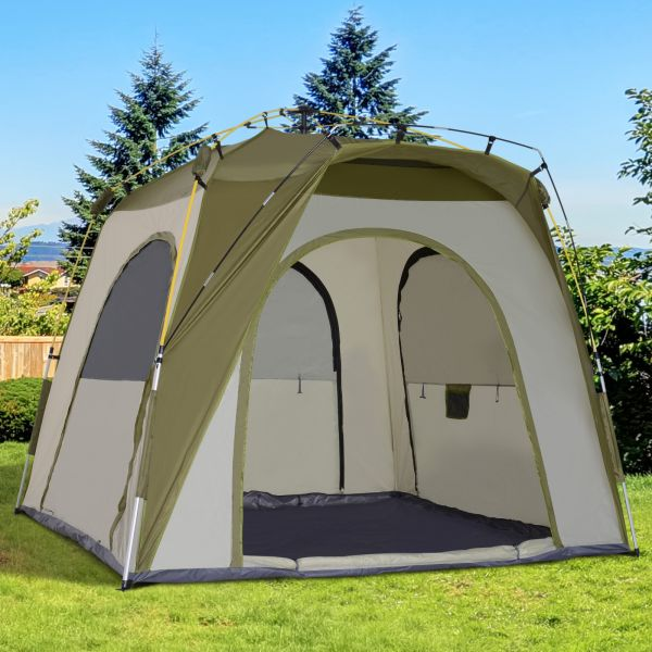 Outsunny 5-Man Pop Up Camping Tent - Green