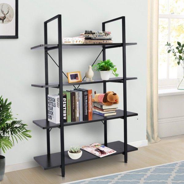 Homcom Industrial 4-Tier Vintage Display Shelf Unit - Black