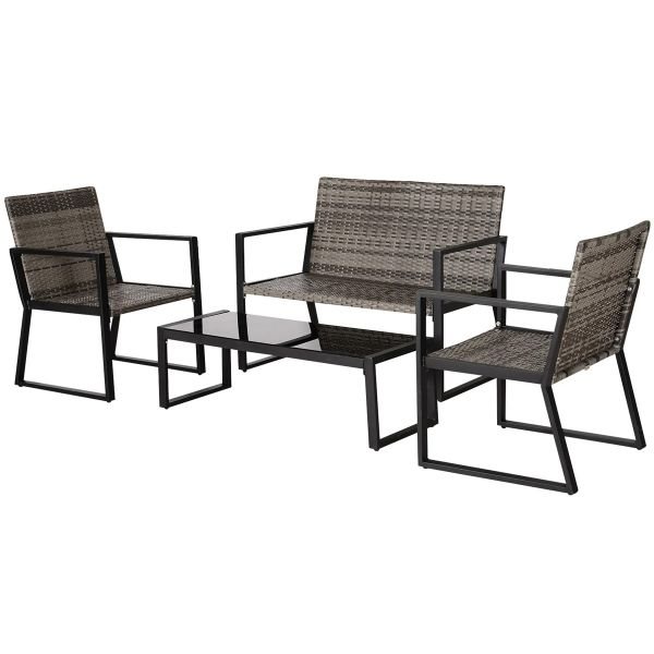 Outsunny 4-Piece Outdoor Garden Rattan Seating Furniture Set - Grey