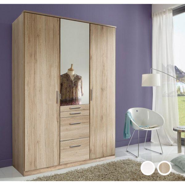 Aachen 3-Door 4-Drawer Mirrored Wardrobe - Oak or White