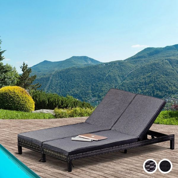 Outsunny PE Rattan 2-Seater Reclining Sun Lounger - 2 Colour