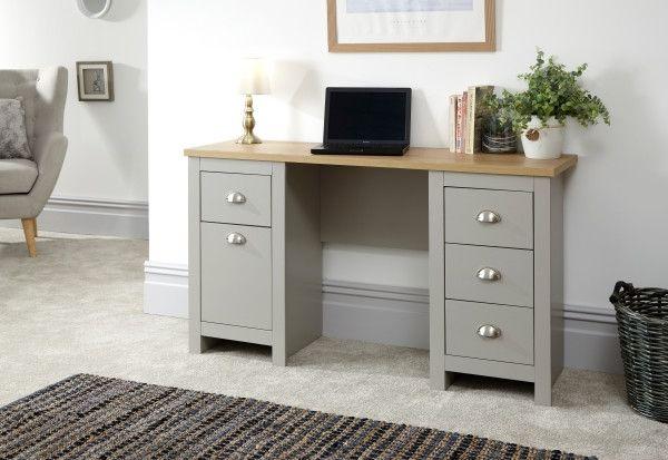Lancaster 5-Drawer Oak Study Desk - Grey or White