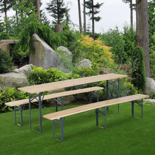 Outsunny Steel Frame Portable Folding Picnic Table Bench Set - Dark Green