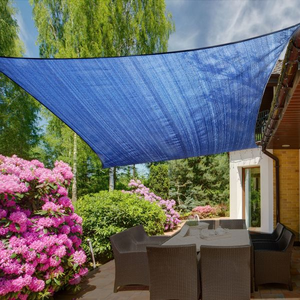 Outsunny 4 x 3m Sail Sun Shade Awning Canopy - Navy Blue, Green or Grey