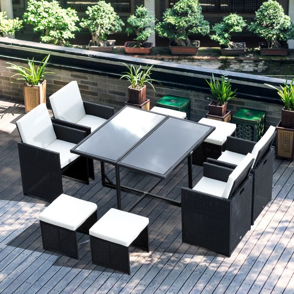 Outsunny 9PC Rattan Cube Dining Table Set - Black