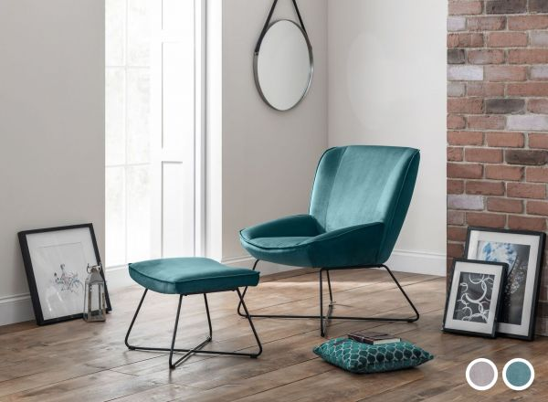 Julian Bowen Mila Velvet Accent Chair & Stool - Grey or Teal