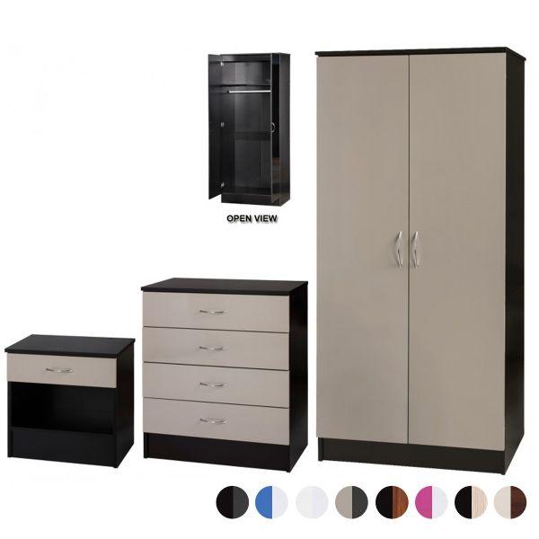 Alpha Gloss 3PC 2-Door Standard Wardrobe Set - 8 Colours
