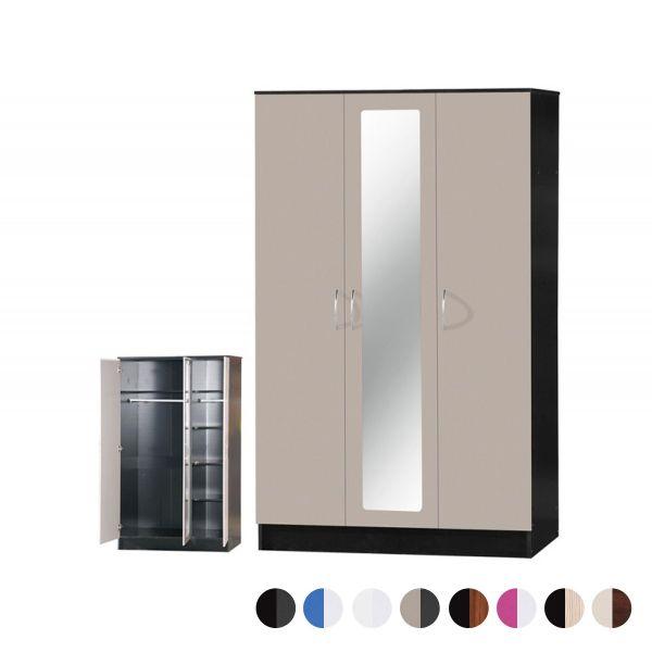 Alpha Gloss 3-Door Mirrored Wardrobe - 8 Colours