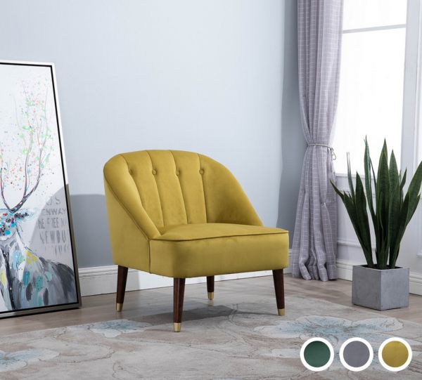 Birlea Alexa Fabric Armchair - Green, Grey or Mustard