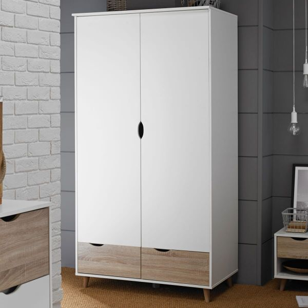 LPD Stockholm 2 Door 2 Drawer Wardrobe - White