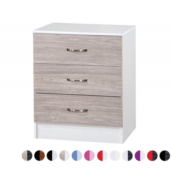 Marina Gloss 3-Drawer Storage Chest - 12 Colours