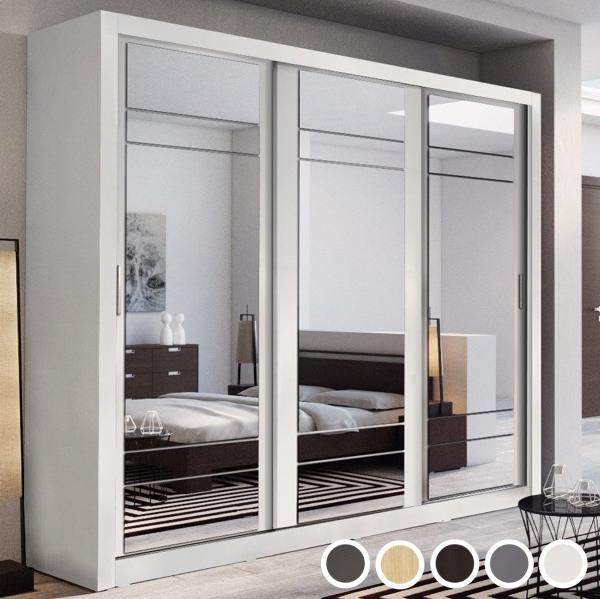 Artisan II 3-Door Sliding Wardrobe 250cm - White, Grey, Black, Oak or Wenge