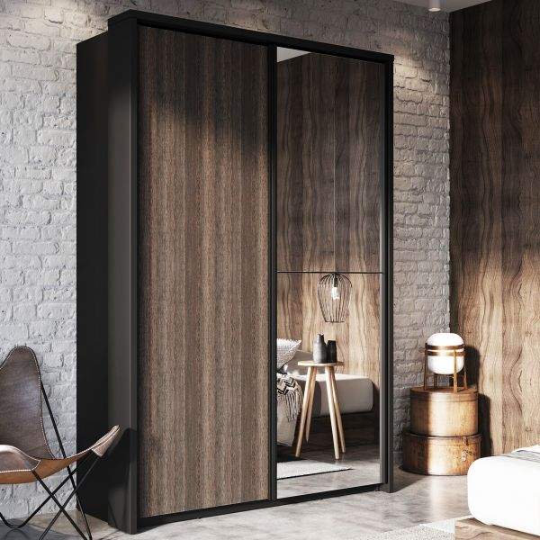 Artisan XXI Sliding Door Wardrobe - Black and Wenge