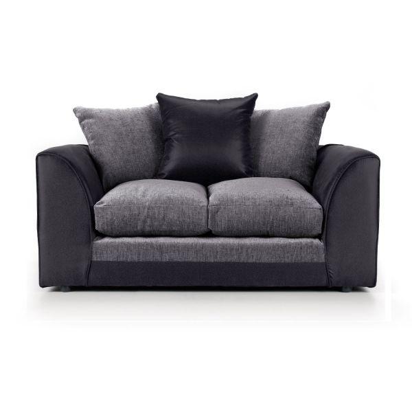 Aruba Black and Grey Fabric 2 Seater Sofa