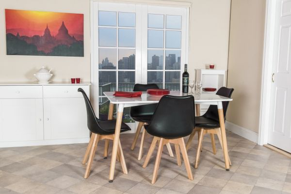 Aspen White Beech Dining Table & 4 Chairs Set - 3 Sizes - 6 Colours