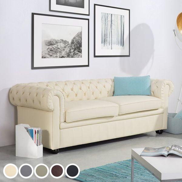 Chesterfield Leather Sofa with 3 Seater - 5 Colours