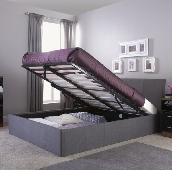 Ascot Grey Hopsack Fabric Ottoman Bed Frame - Double or King