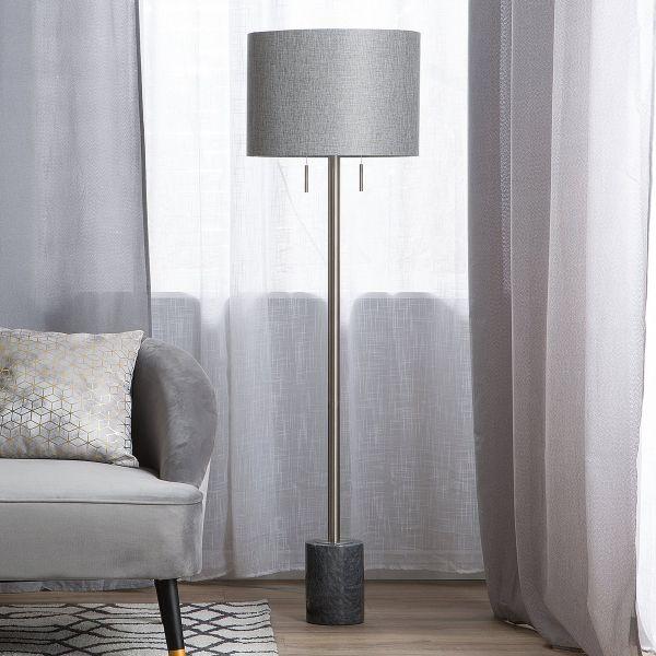 Arpa Fabric Marble Floor Lamp - Grey