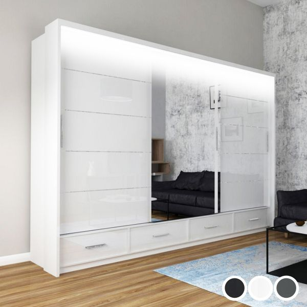 Mendeley 255cm High Gloss Sliding Wardrobe - Black, White, Grey