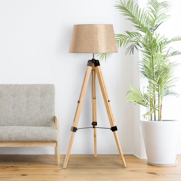 Homcom Adjustable Wooden Tripod Floor Lamp - Cream or Grey