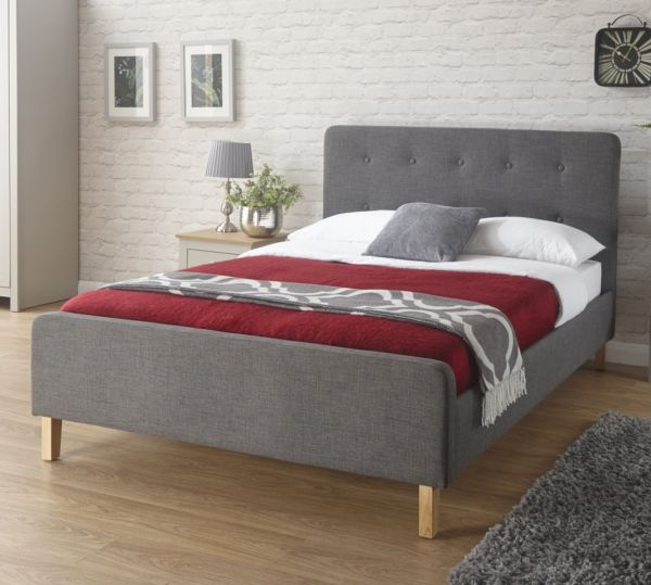 Ashbourne Fabric Bed & Mattress Options - Grey or Light Grey