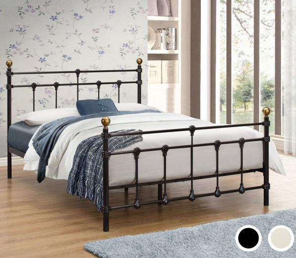 Birlea Atlas Black or Cream Metal Bed Frame